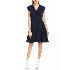 Rebecca Taylor Fringe Tweed Fit And Flare Dress